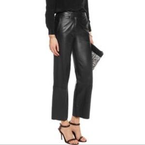 HELMUT LANG WIDE LEG CROPPED LEATHER PANTS